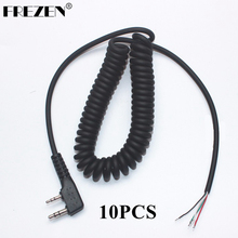 10pcs DIY 4wire Microphone Cable K Plug 2pins For Kenwood Wouxun Baofeng Puxing Linton Tyt Quansheng Walkie Talkie  W
