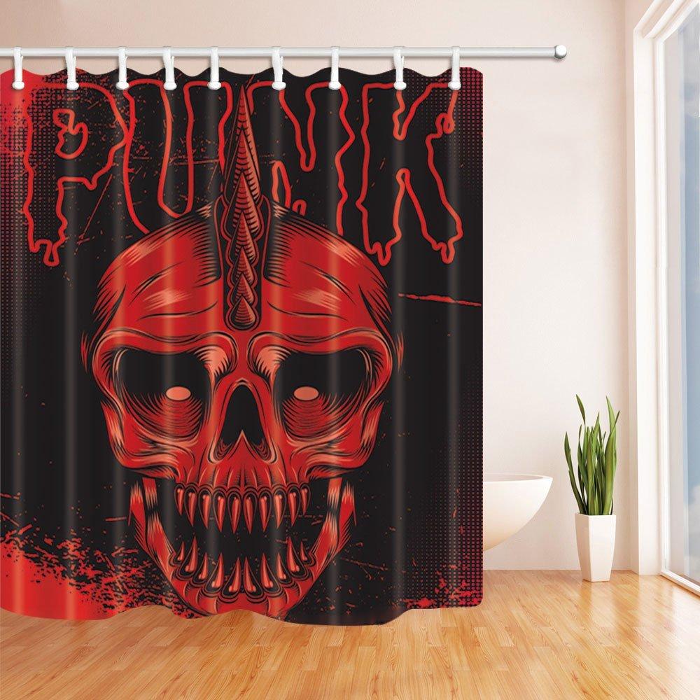 Halloween Decor, Red Skull Horrible in Black Shower Curtains, Mildew ...