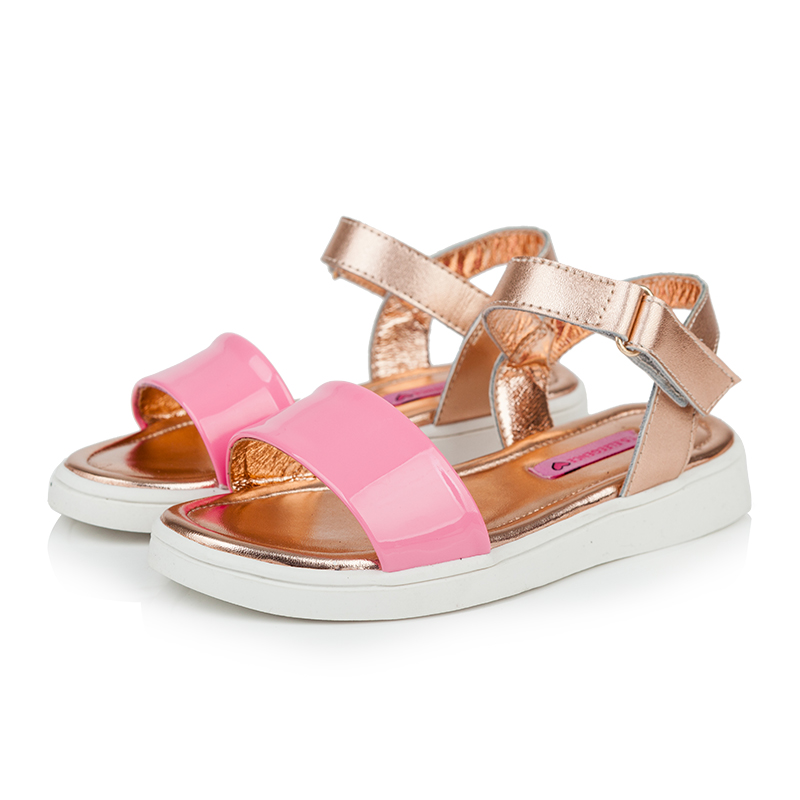 2017 New summer Real Genuine Leather candy colored kids sandal comfort casual flat shoes women children