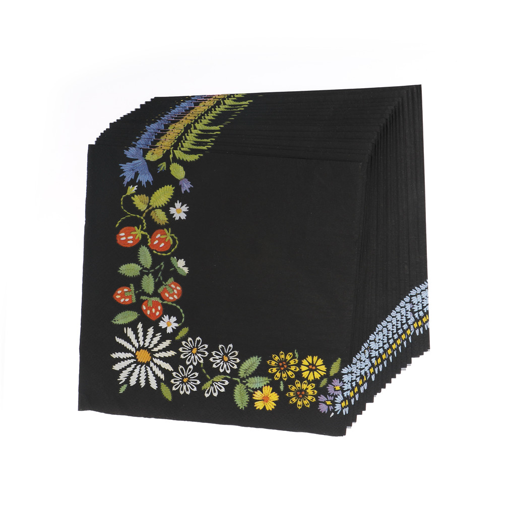 Paper Wedding Napkins Tissue Black Color Print Embroidery Art Handerchief Decoupage Birthday Party Cafe Decoration Mug Cup Mats