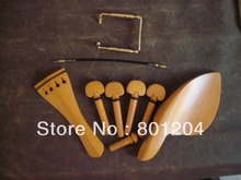 1 Set BOXWOOD Violin Fitting with GOLD chin rest screw and Tail Gut