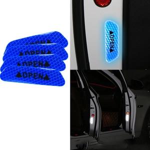 Image 3 - Autocollants réfléchissants à ouverture, en papier réfléchissant longue distance, Anti collision, décoratif, avertissement de sécurité pour porte de voiture, 4 pièces