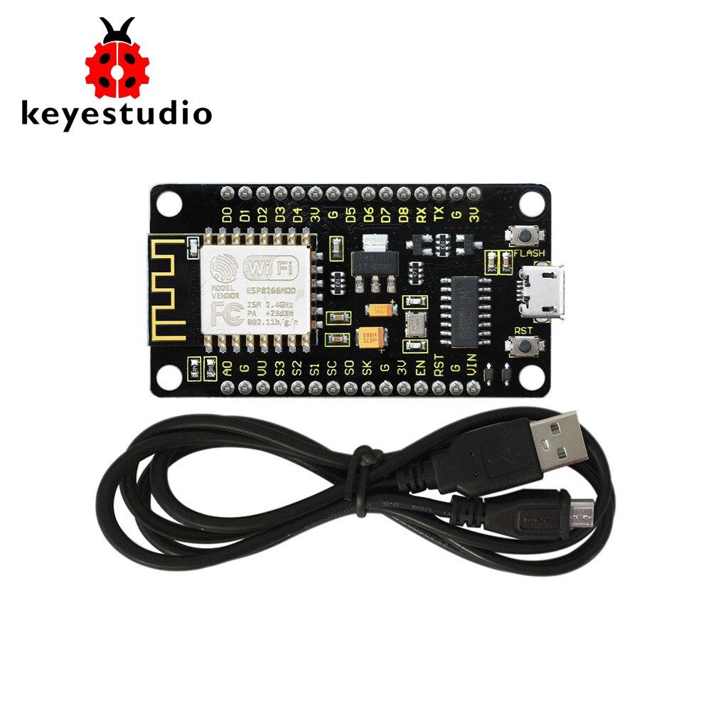NUOVO! Keyeastudio NodeMcu Lua ESP8266 ESP-12F Modulo WIFI + 1 m Cavo USB/Scheda di Sviluppo/Compatibile con la ReteNUOVO! Keyeastudio NodeMcu Lua ESP8266 ESP-12F Modulo WIFI + 1 m Cavo USB/Scheda di Sviluppo/Compatibile con la Rete