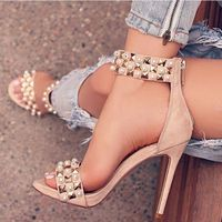 Chmaori Hot 2018 Ladies Pearl&Rivets Embellised Ankle Strap Sandals Woman Suede Back Zipper Thin High Heels Dress Party Shoes