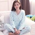 Новая Мода Продвижение Случайный Пижамы Наборы Женщины Пижамы С Длинным Рукавом V-образным Вырезом Леди Хлопка Пижамы Пижамы Сна Lounge Charater