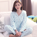 Nova Promoção Moda Casual Conjuntos Pijamas Pijamas Das Mulheres de Manga Longa Com Decote Em V Lady Charater Algodão Sleepwear Nightwear Salão Sono