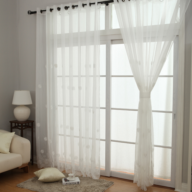 New Arrival White Sheer Curtains New High Grade Embroidery Yarn Lace  Princess Modern Sheer Curtain