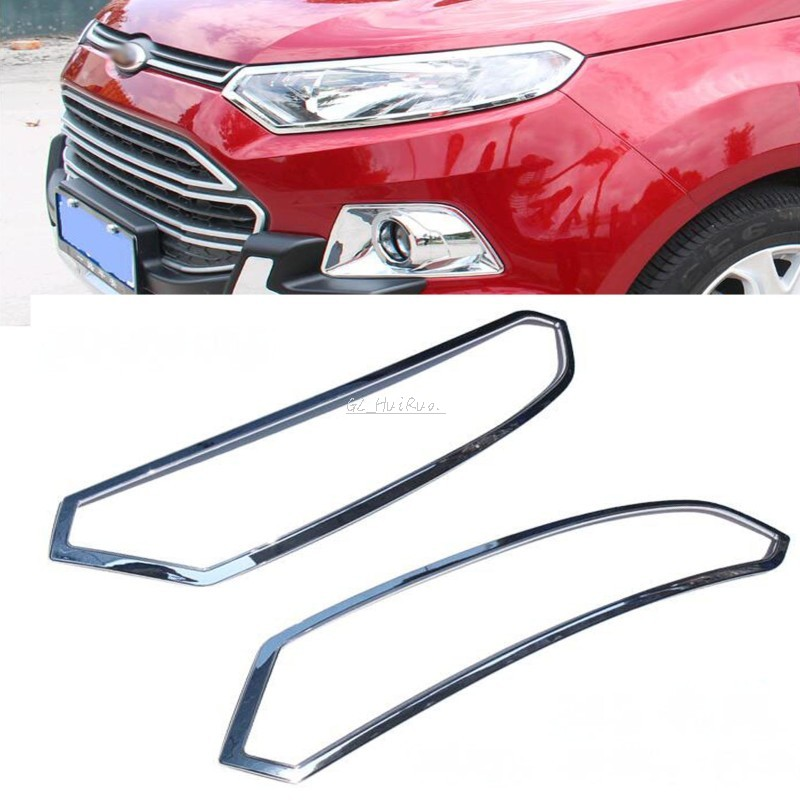 ABS Chrome Car Front Head Lights Lamp Covers Trim For Ford EcoSport 2013 2014 abs chrome front grille around trim for ford s max smax 2007 2010 2011 2012
