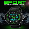 Skmei Марка Спортивные Часы Мода Повседневная Часы мужские S-Shock Кварцевые Наручные Часы Аналоговые Военная СВЕТОДИОДНЫЙ Цифровой Часы Montre Homme