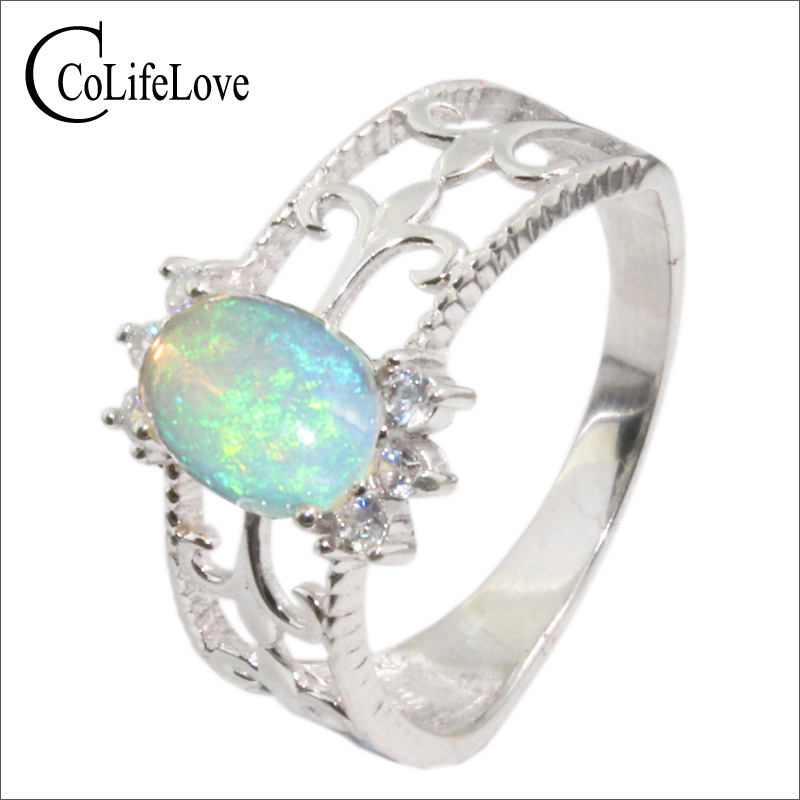 Vintage opal silver ring 6 mm 8 mm natural opal ring solid 925 sterling silver opal