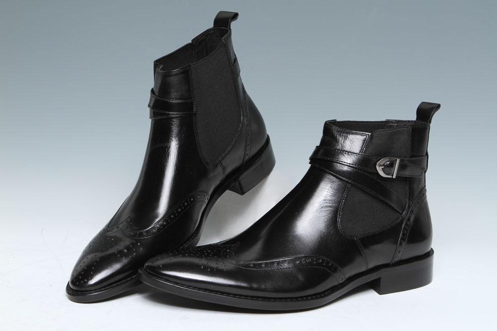 Mens Black/Coffee Leather elastic band Plain Toe Dress Ankle Boot ...
