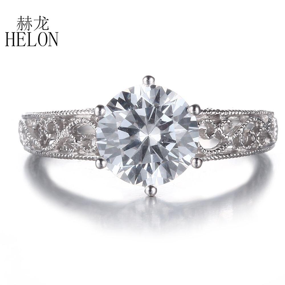 Helon Art Style Women's Jewelry Round Cut 75mm Aaa Graded Cubic Zirconia  Engagement Wedding Filigree