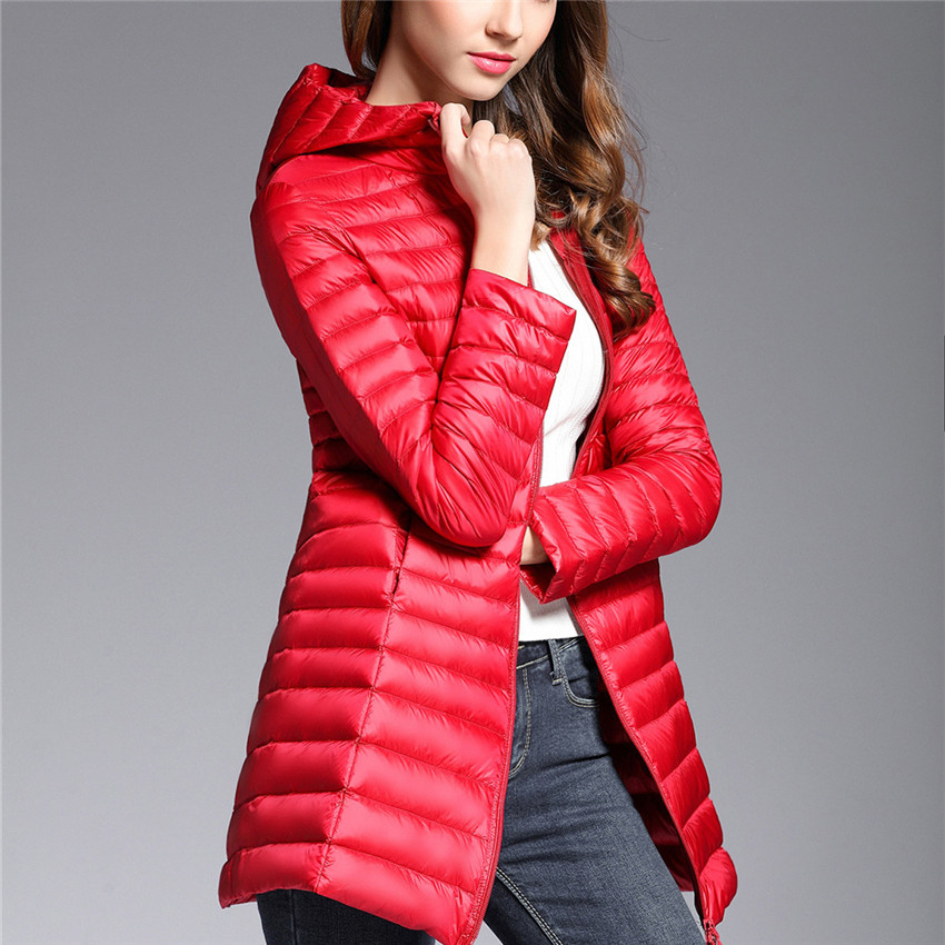 2018 Autumn Winter Women White Duck   Down   Jacket Big Size Lady Light Thin   Down   Jacket Slim Midi Long   Down     Coat   Hooded   Coats   WZ599