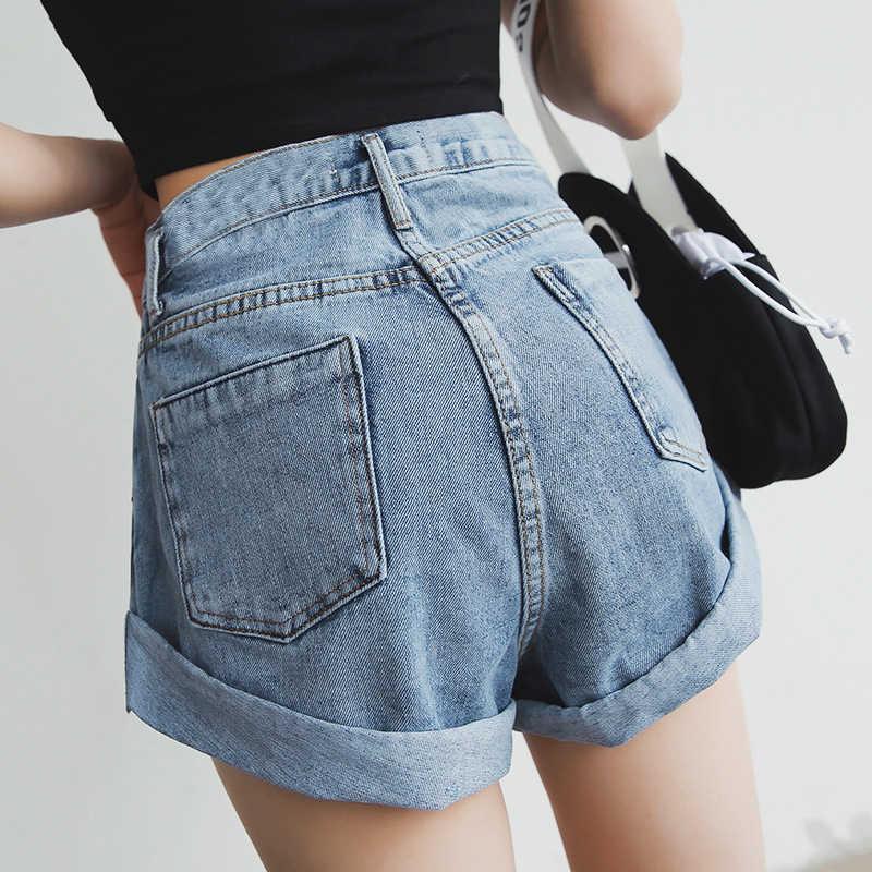 Wysokiej zwężone spodenki jeansowe dla kobiet 2019 wysokiej talii dżinsy krótkie kobieta białe szorty dżinsowe kobiety lato krótkie dżinsy kobieta 2019