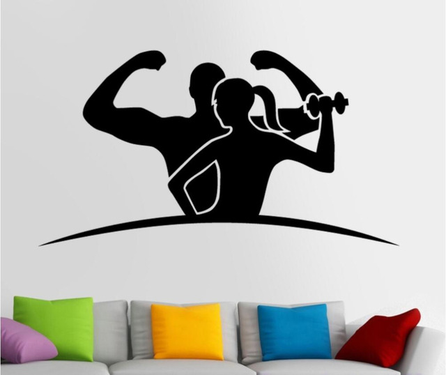 Sports room sticker body building posters vinyl wall decals gym