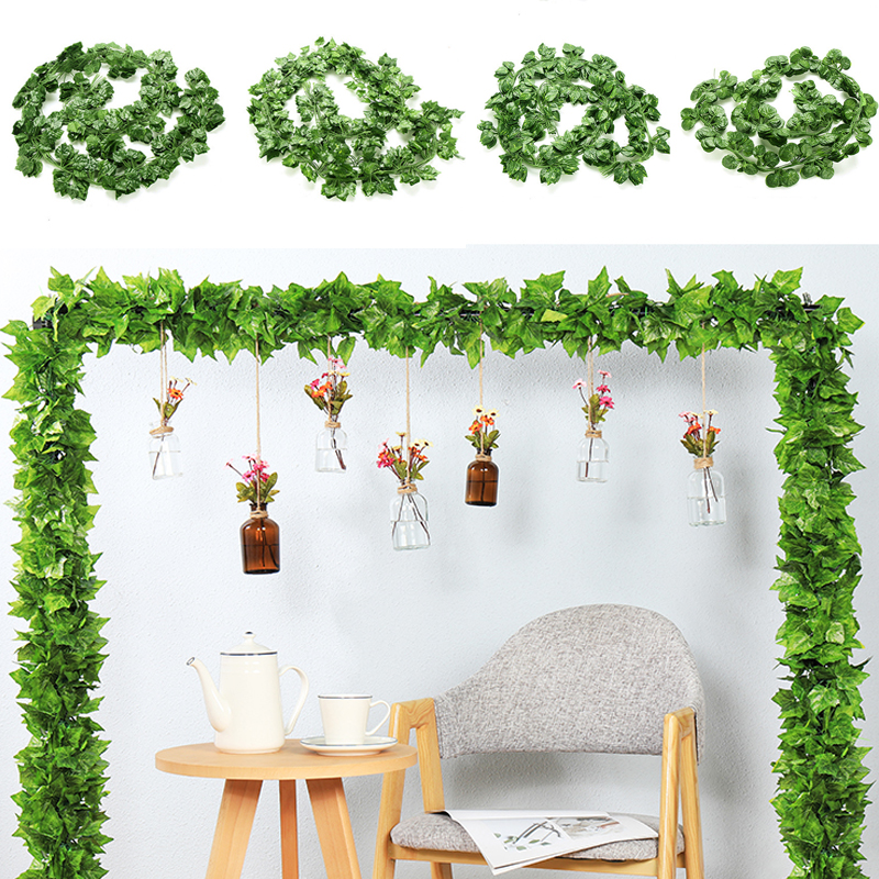 200CM Artificial Rattan Ivy Grape Green Leaf Plastic Vine For Home Garden Decoration Garland Fake Plants