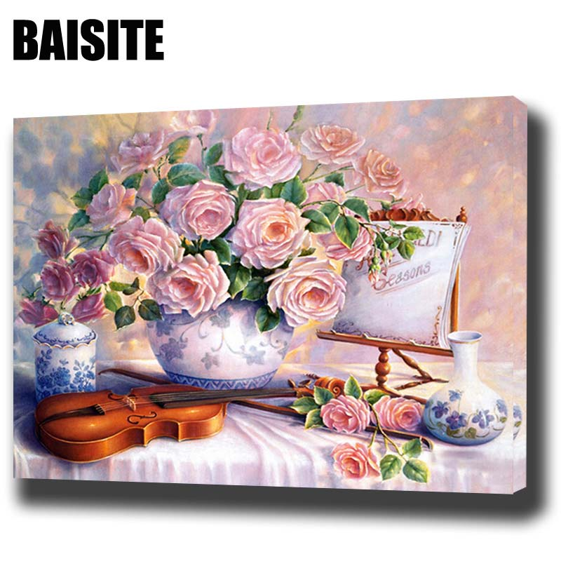 BAISITE DIY Framed Oil Painting By Numbers Flowers Pictures Canvas Painting For Living Room Wall Art Home Decor H542