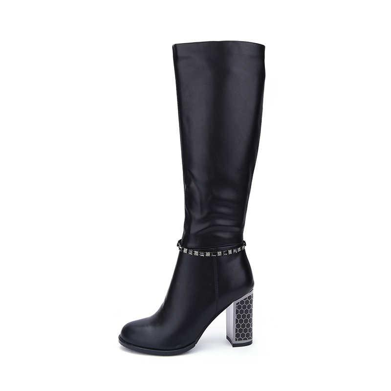 Hellenia 2018 ฤดูใบไม้ร่วงฤดูใบไม้ผลิรองเท้าสไตล์ใหม่รองเท้าสตรีรองเท้าส้นสูงหนารองเท้าเซ็กซี่หญิงนุ่มสบายรองเท้าผู้หญิง boot