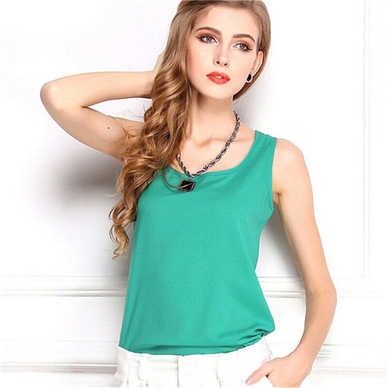 Summer style Multiple Women   Tank     Tops   Brand Good Quality Women Chiffon Sleeveless Tshirt Female Shirt blouse Blusas Femininas