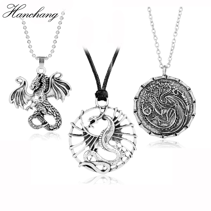 HANCHANG Movie Jewelry Game Of Thrones Necklace Song Of Ice And Fire Targaryen Pendant Necklace Men Christmas Cosplay Gift