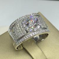 1 карат Диамант классическое мужское кольцо из стерлингового серебра кольцо с бриллиантом (LMYS)