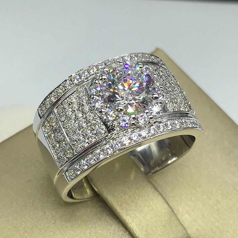 1 Carat Diamond Classic Men's Ring With Sterling Silver Diamond Ring (LMYS)