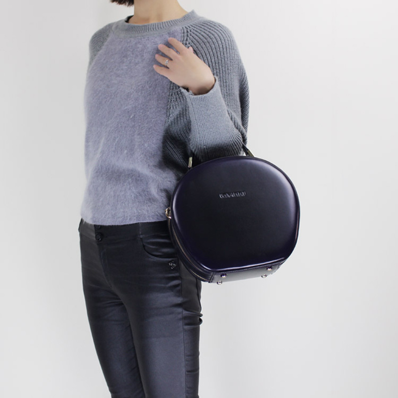 Elegante bolso de mano de cuero genuino personalizado bolsos redondos 2019 bolsos de hombro portátil con cremallera doble-in Bolsos de hombro from Maletas y bolsas    3