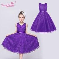 2018 Tulle Tutu Flower Girls Dresses Princess Toddler Baby Kids Clothes Teenager Girl Dress 6 7 8 9 10 Years Birthday Clothing