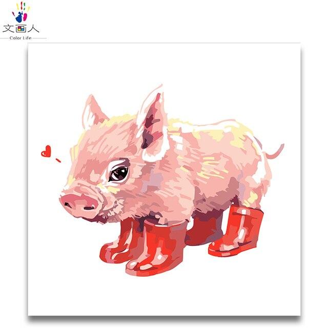 Kolorowanie Według Numerów Kochać Pig Nosić Czerwone Buty Uroczy