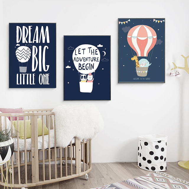 Cartoon Animals Balloon Art Canvas Prints Children Baby Quote Poster 1