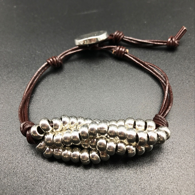Новый ручной ретро браслет натуральной веревки завернутый с золотым бисером браслет личность примитивные этническом стиле браслет Forwomen