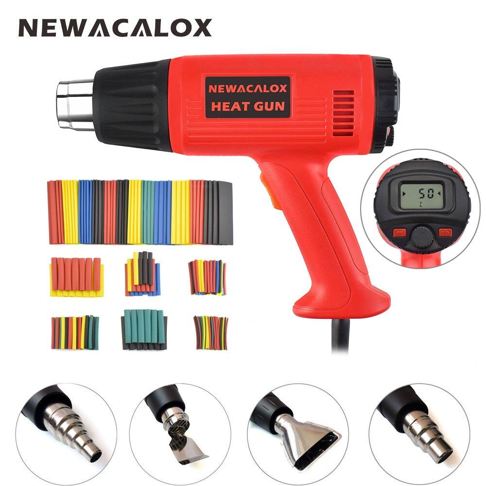 NEWACALOX 2000 W 220 V UE Température Vent Vitesse Réglable Pistolet à air chaud LCD Thermorégulateur Chaude Pistolet À Air Kit + Coloré tuyaux + 4 Buses