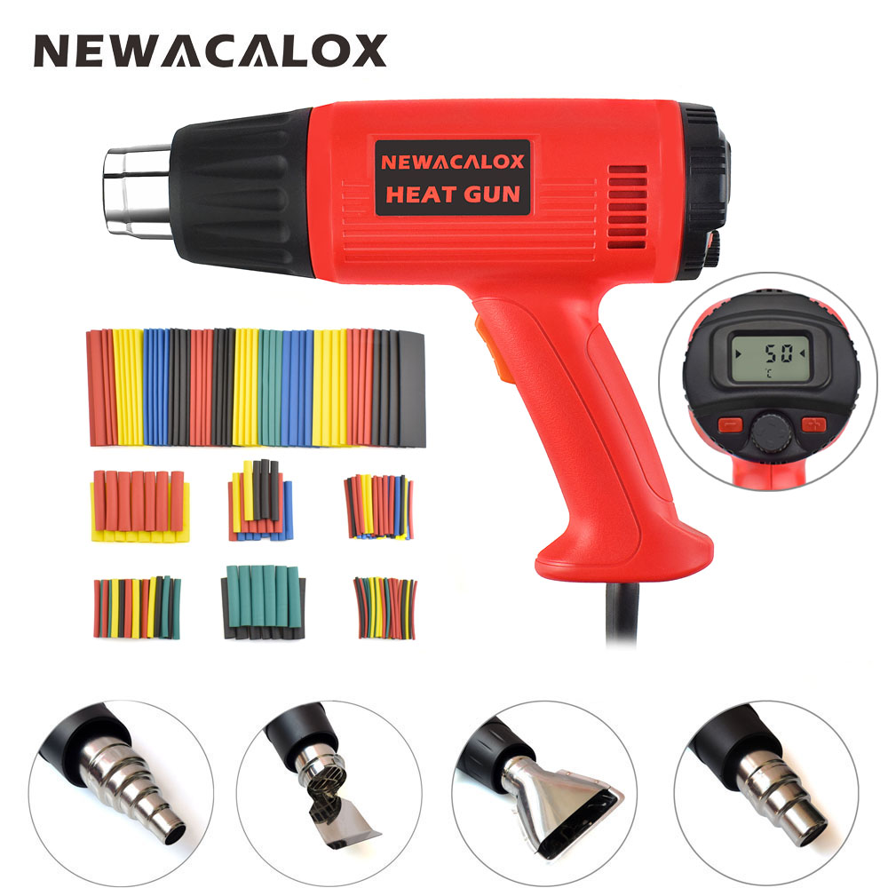 NEWACALOX 2000W 220V EU Temperature Wind Speed Adjustable Heat Gun LCD Thermoregulator Hot Air Gun Kit+Colorful Hoses+4 Nozzles