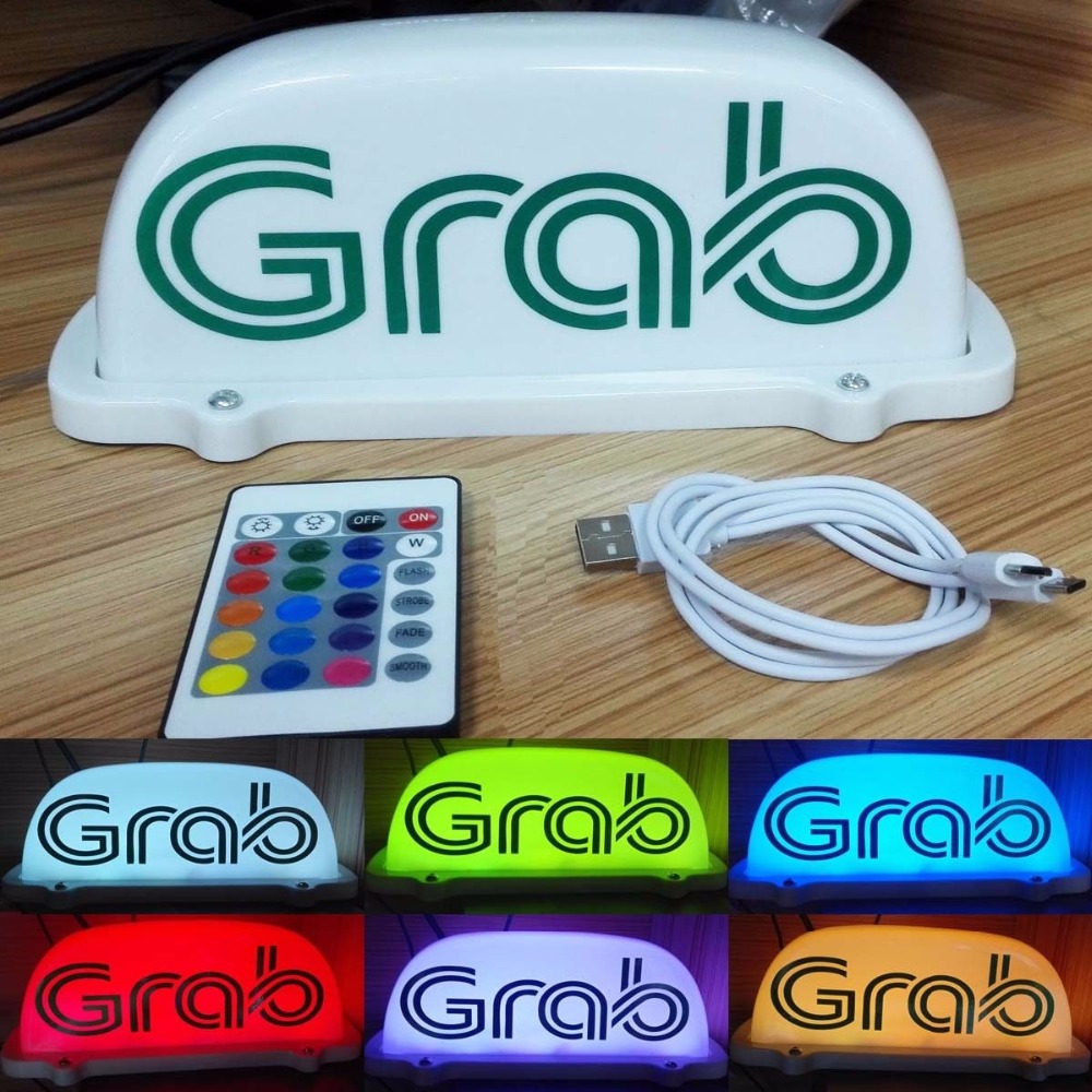 7 Color Remote Grab Cab <font><b>Logo</b></font> <font><b>LED</b></font> Light Sign GRABTAXI SignS <font><b>Car</b></font> Top Roof Lights <font><b>USB</b></font> Rechargeable Taxi Top Light G1WSQP09724 image