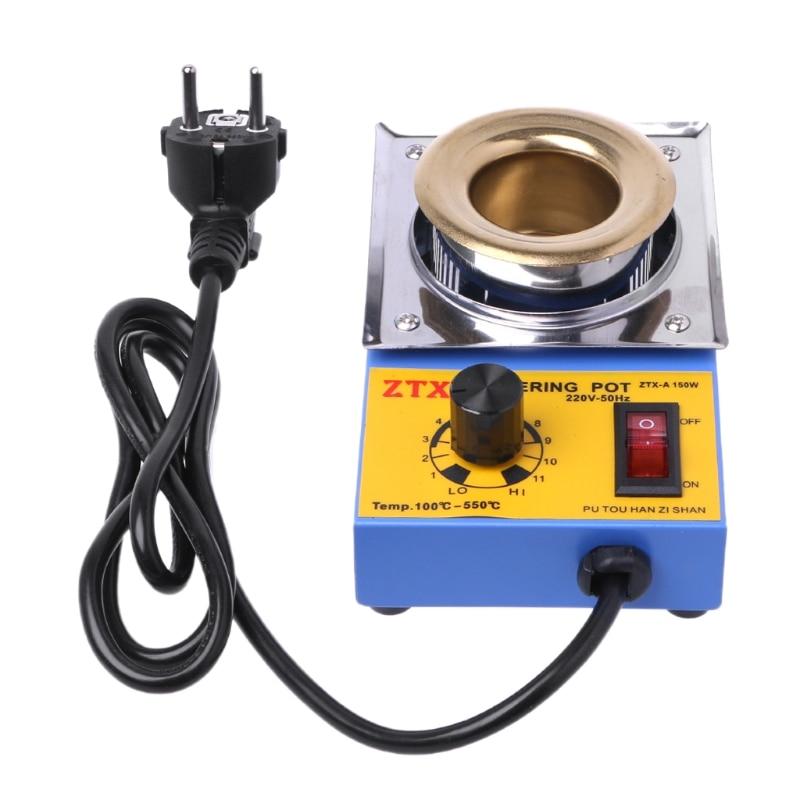 150W Welding Repair Tool Titanium Plating Lead-Free Solder Pot Adjustable Temperature Tin Furnace with EU plug gowe lead free pure titanium tin furnace solder machine rated power 2000w