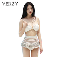 2017 New Arrivals Women Sweet Bikinis White Hallow Mesh High Waist Lace Sexy Lady Padded Biquini