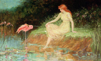 Figure Canvas Oil Painting Art Hand Painted Young Girl Seated by The Pond & Birds Cranes Flamingo Painting Reproduction