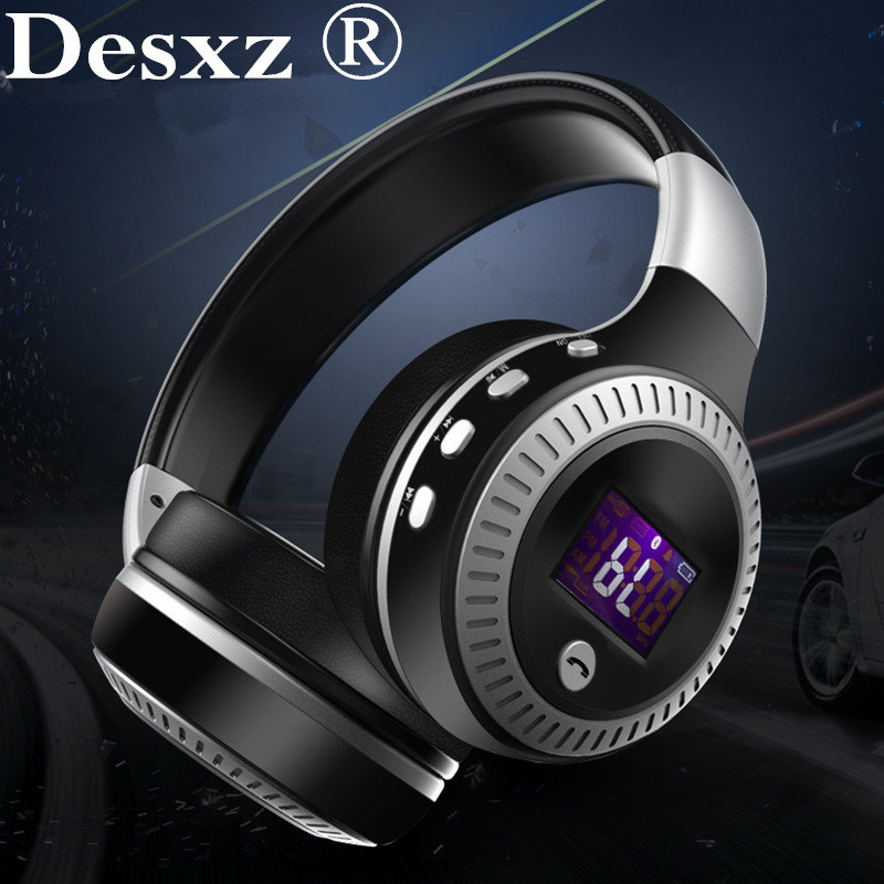 Desxz B19 Bluetooth Headphones Wireless Stereo Earphone Headphone with Mic Headsets Micro-SD Card Slot FM Radio For Phone MP3 economic set original nia 8809s 8 gb micro sd card a set wireless headphone sport for tv with fm