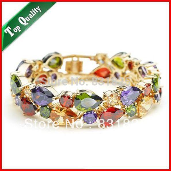 Livraison gratuite luxueux Bracelet en cristal Champagne couleur or bijoux de mode en grosLivraison gratuite luxueux Bracelet en cristal Champagne couleur or bijoux de mode en gros