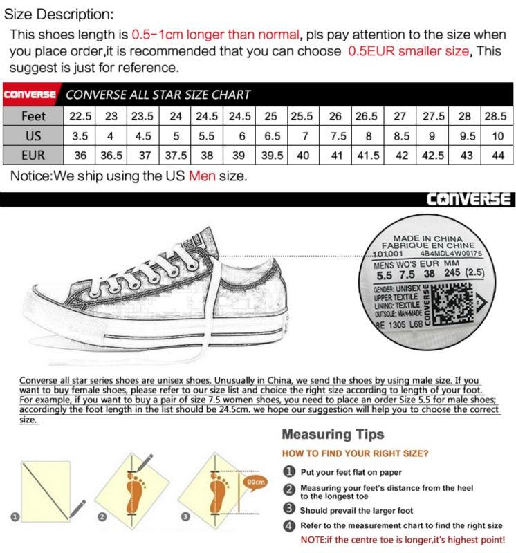Converse Shoe Size Chart Heartpulsar