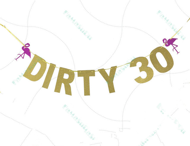 glitter gold dirty 30 happy 30th birthday party bunting garland