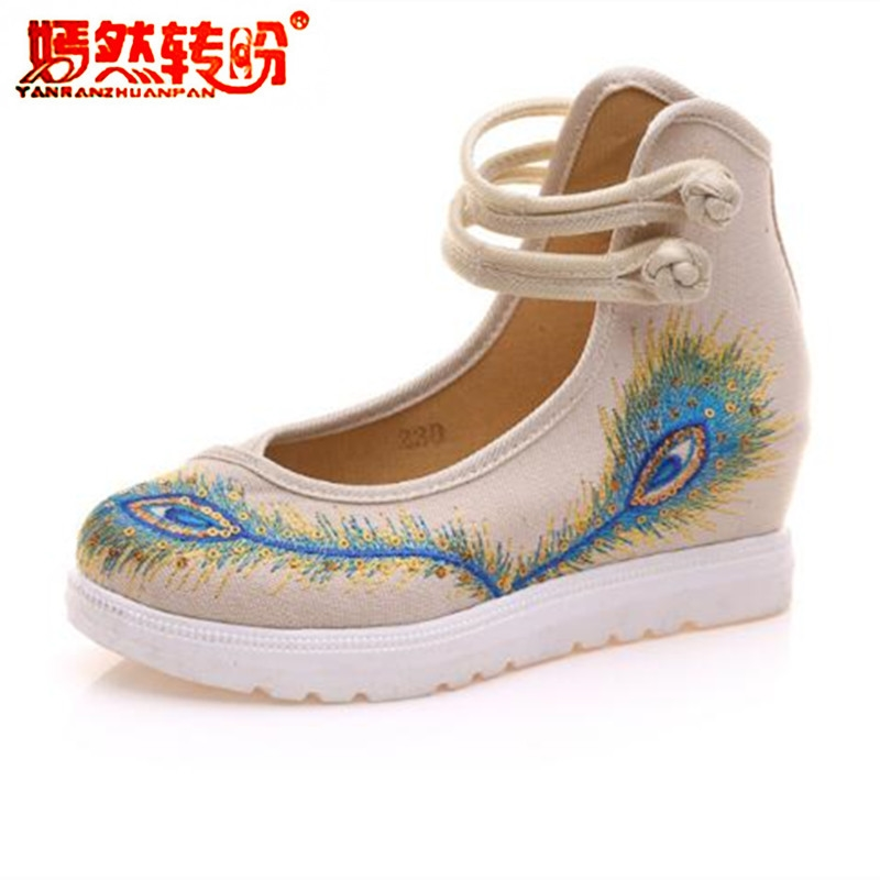 Peacock Embroidery Women Shoes Old Peking Mary Jane Flat Heel Denim Flats Soft Sole Women Dance Casual Shoes Height Increase 2016 hot sale women s shoes old peking denim shoes flat heel with embroidery soft sole casual shoes dancing shoes size 34 41