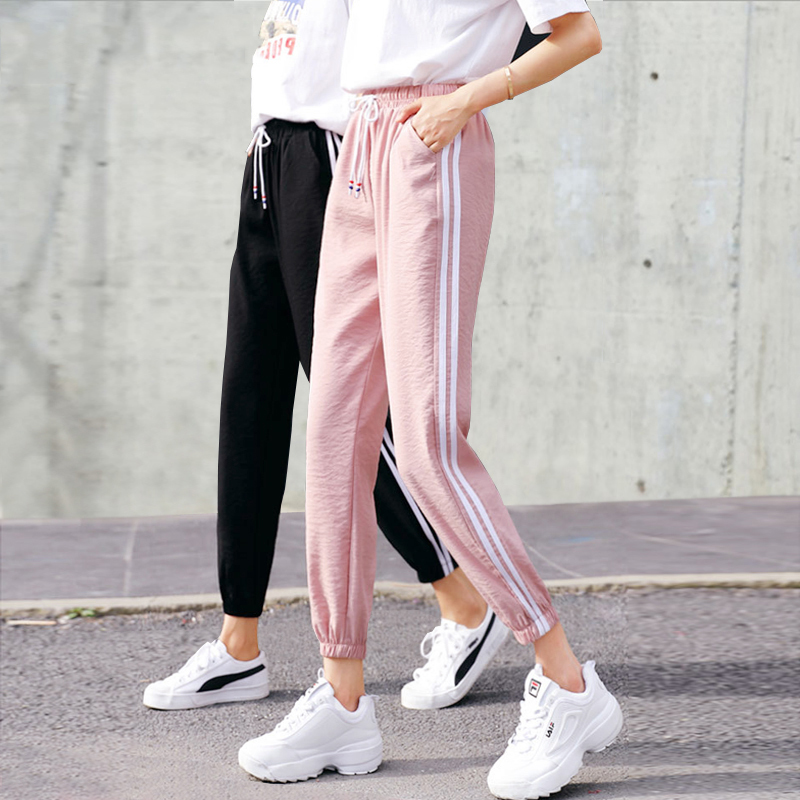 Women's Pants Sportswear Side-Stripe Bottoms Elastic-Waist Loose Casual Fashion New
