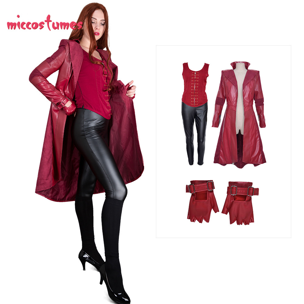 Scarlet Witch Cosplay Costume Red Coat Woman Halloween Outfit Vest Pants