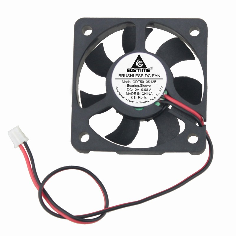 Lot 2pcs DC 12 V 2 Pin 2 Wire 50mm Mini Cooling Fan 5010s Black 50mm x 10mm Computer PC Case Cooling Cooler computer cooling