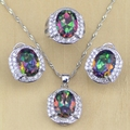 Mystic Rainbow Fire Created Topaz Jewelry Sets Women 925 Sterling Silver Jewelry Wedding Earrings/Pendant/Necklace/Rings T220