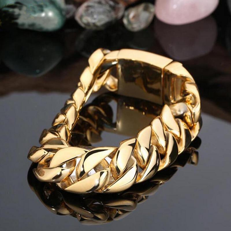 TrustyLan 17MM Wide Gold Bracelet Men Fashion Brand Male Jewelry ...