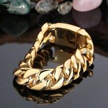 TrustyLan 17MM Wide Golden Bracelet Men Fashion Male Hand Jewelry Gold Color Link Chain  Mens Bracelets Best Friends Bangles