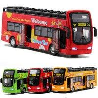 Diecast Hợp Kim và ABS mô hình xe hai lớp xe buýt du lịch ánh sáng Âm Nhạc cửa mở Trẻ Em xe buýt thành phố đồ chơi mô hình với hộp món quà cậu bé