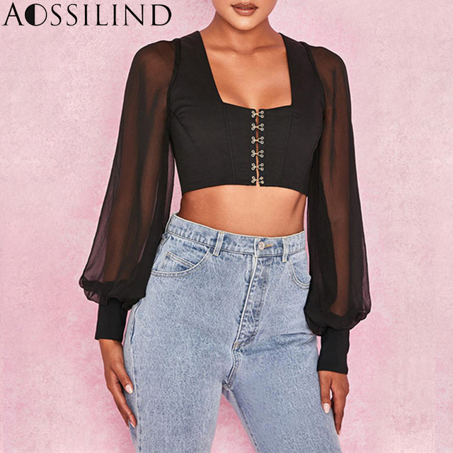 AOSSILIND Fashion Lantern Sleeve Short Blouse Shirt Women Black Square Collar Long Sleeve Crop Top Sexy Short Blusas